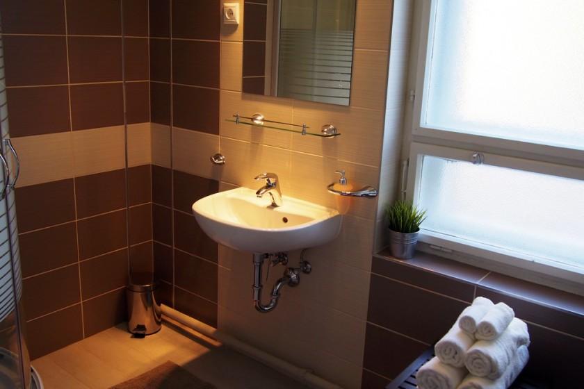 FürdőszobaPrémium szoba fürdőszobája