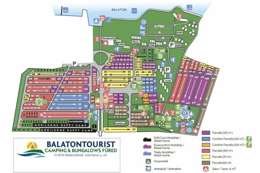 Balatontourist Füred Kemping és Üdülőfalu térkép