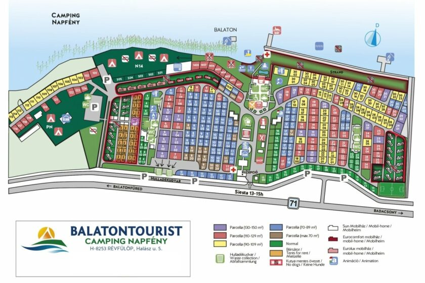 Balatontourist Napfény Kemping térkép